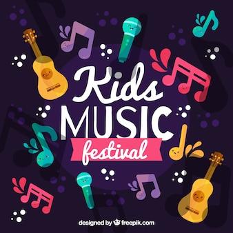 Fundo festival de música com instrumentos diferentes