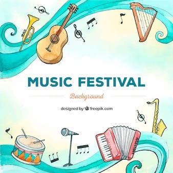 Fundo festival de música com instrumentos no estilo desenhado de mão