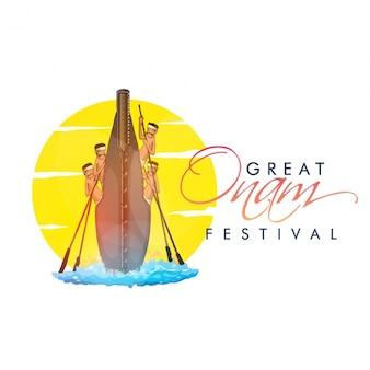 Fundo festival de onam com corrida de barcos