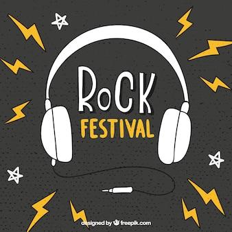 Fundo festival de rock com fones de ouvido