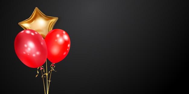 Fundo festivo com balões de ar dourados e vermelhos e pedaços brilhantes de serpentina. ilustração vetorial para cartazes, folhetos ou cartões.