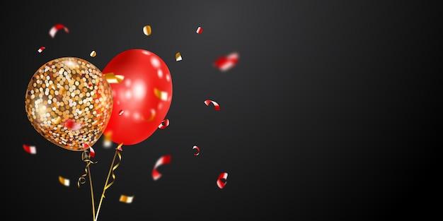 Fundo festivo com balões de ar dourados e vermelhos e pedaços brilhantes de serpentina
