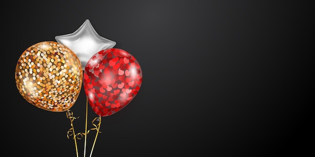 Fundo festivo com balões de ar dourados, vermelhos e prateados e pedaços brilhantes de serpentina. ilustração vetorial para cartazes, folhetos ou cartões.