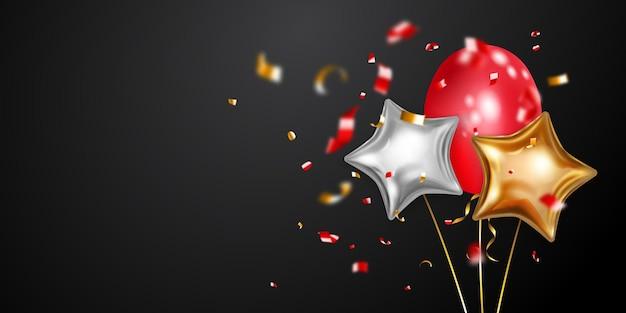 Fundo festivo com balões de ar dourados, vermelhos e prateados e pedaços brilhantes de serpentina. ilustração vetorial para cartazes, folhetos ou cartões. Vetor Premium
