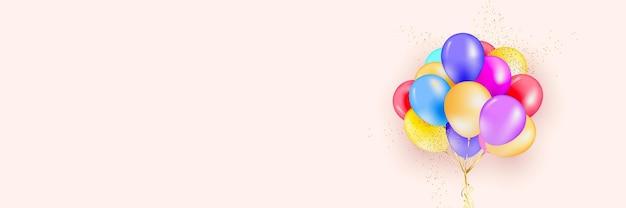 Fundo festivo com balões de hélio.