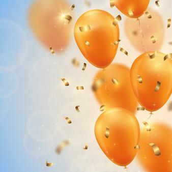Fundo festivo com balões de ouro e confetes.