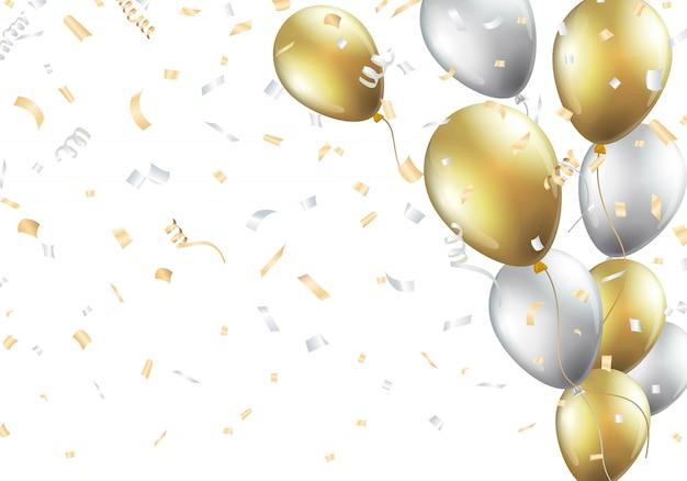 Fundo festivo com balões de ouro e prata