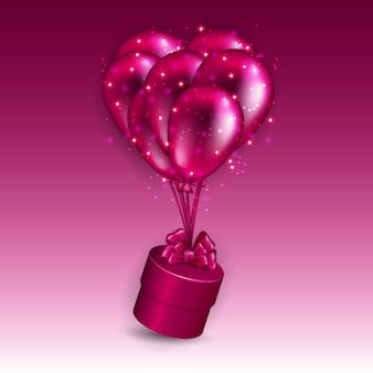 Fundo festivo com caixa de presente e balões