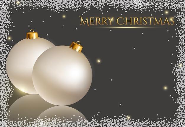 Fundo festivo com cartão de bolas de natal