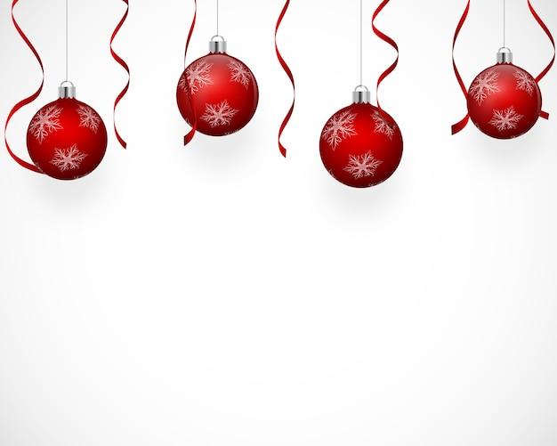 Fundo festivo com enfeites de árvore de natal.