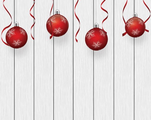 Fundo festivo com enfeites de árvore de natal