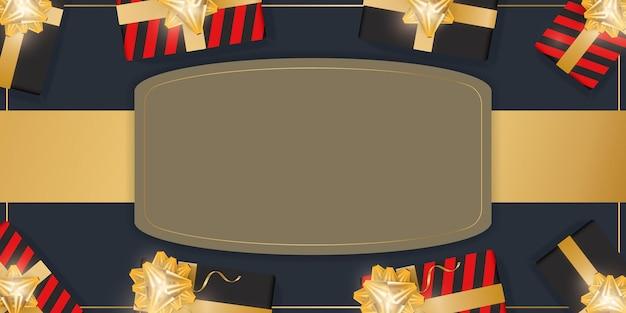 Fundo festivo com presentes e lugar para texto. caixas de presente realistas com fitas de ouro e arco. vista de cima. ilustração vetorial.
