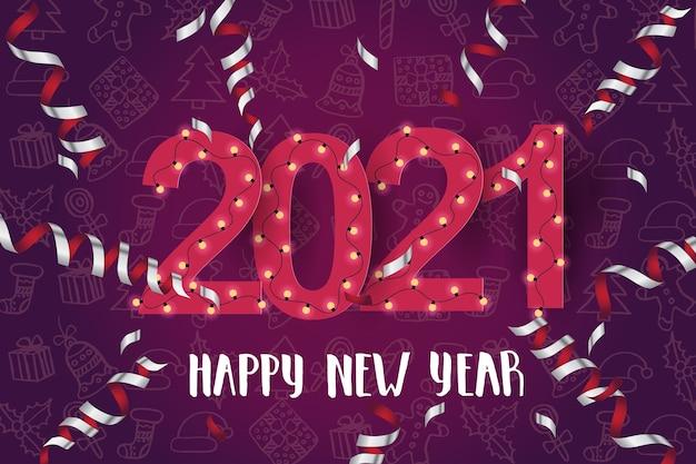 Fundo festivo com serpentina, lâmpadas e frase de letras feitas à mão - feliz ano novo