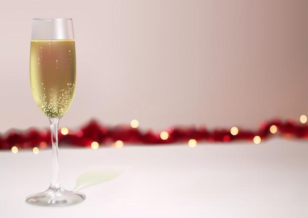 Fundo festivo com taça de champanhe