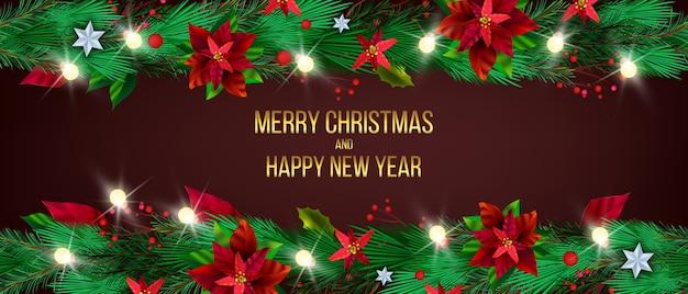 Fundo festivo da poinsétia de inverno de natal com plantas festivas verdes, ramos de pinheiro, estrelas