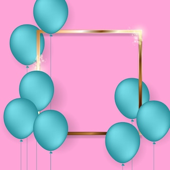 Fundo festivo de aniversário com balões de hélio.