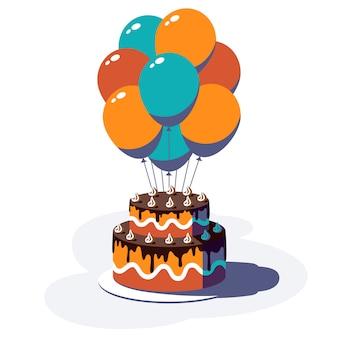 Fundo festivo de feliz aniversário. balões coloridos e bolo isolados no fundo branco. ilustração.