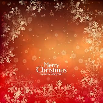 Fundo festivo de feliz natal incrível e elegante com flocos de neve