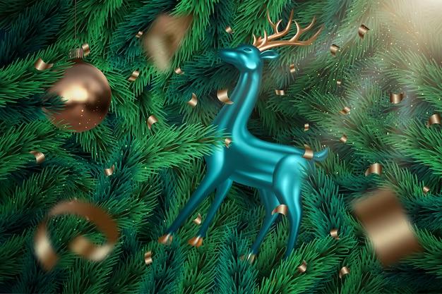 Fundo festivo de galhos de árvore realista com veados metálicos azuis, enfeites, confetes