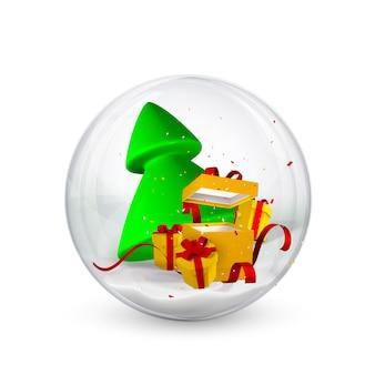Fundo festivo de natal. caixas de presente, árvore de natal e confetes dentro de bolas de natal brilhantes glitter brilhantes. ilustração vetorial.