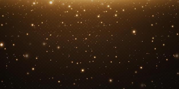Fundo festivo de natal com confetes leves e pequenas luzes douradas brilhantes,