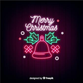 Fundo festivo de natal em néon