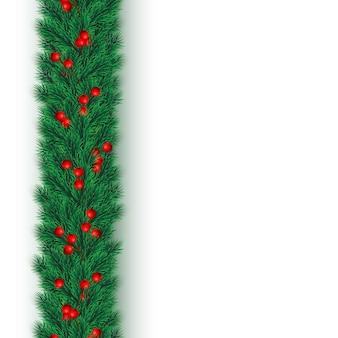 Fundo festivo de natal ou ano novo. galhos de árvores de natal com bagas de azevinho. fundo do feriado.
