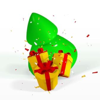 Fundo festivo do ano novo. 3d render e desenhar por malha de árvore de natal com caixas de presente e confetes. ilustração vetorial.