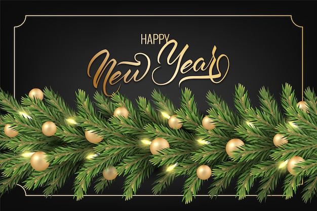 Fundo festivo para cartão de felicitações de ano novo com um realista guirlanda de pinheiro ramos, decorados com bolas de natal