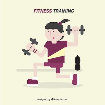 Fundo fitness formação plana com mulher