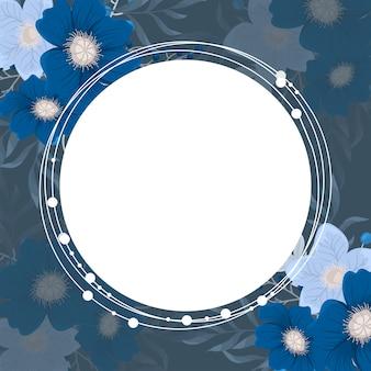 Fundo flor - vermelho, azul claro, grinalda de flores brancas