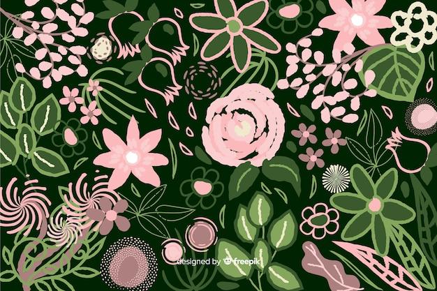 Fundo floral abstrato de pintados à mão