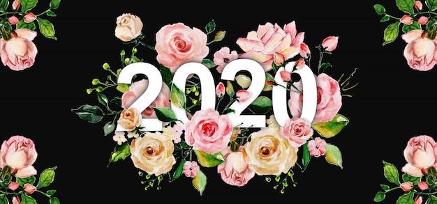 Fundo floral ano novo em aquarela