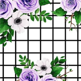 Fundo floral aquarela com listras