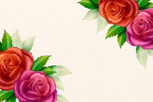 Fundo floral aquarela com rosas