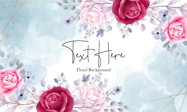 Fundo floral aquarela elegante com lindos ornamentos florais Vetor Premium