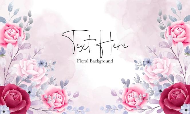 Fundo floral aquarela elegante com lindos ornamentos florais