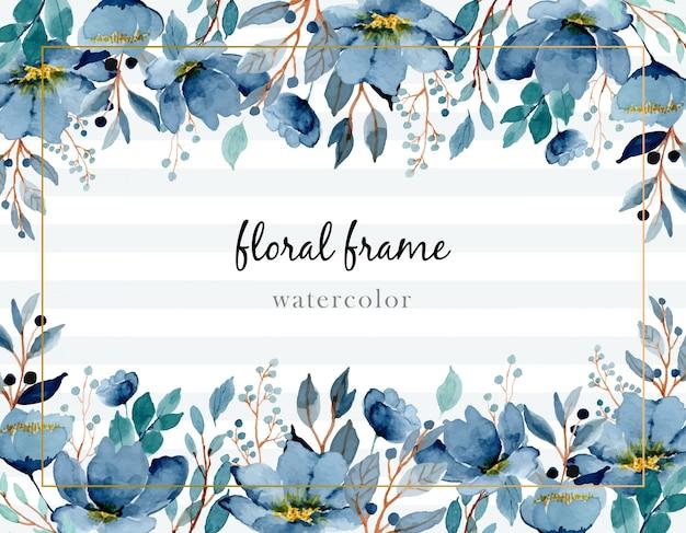 Fundo floral aquarela índigo