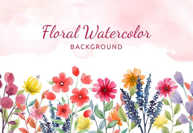 Fundo floral aquarela pintado à mão com flores coloridas