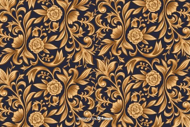 Fundo floral artístico ornamental dourado