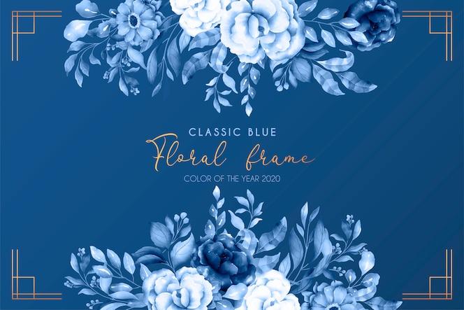 Fundo floral azul clássico