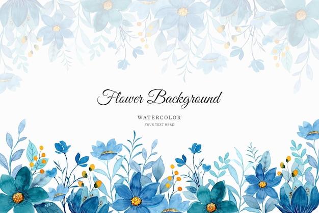 Fundo floral azul com aquarela