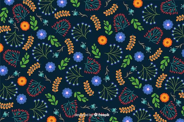 Fundo floral azul design plano