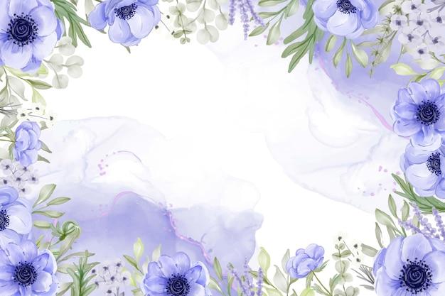 Fundo floral bonito com flor de anêmona roxa elegante