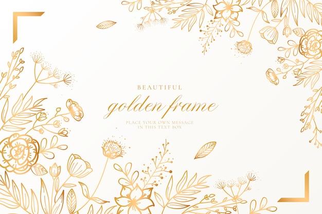 Fundo floral bonito com natureza dourada