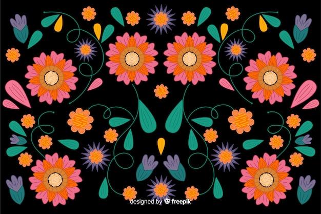 Fundo floral bordado mexicano