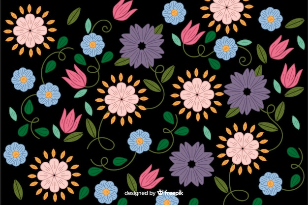 Fundo floral bordado mexicano