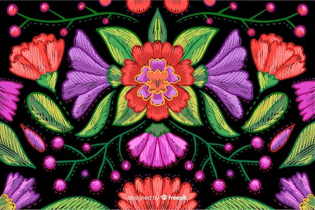 Fundo floral bordado