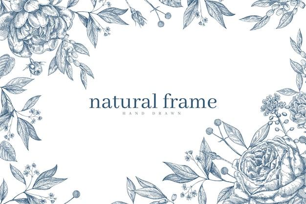 Fundo floral botânico vintage desenhado à mão Vetor Premium