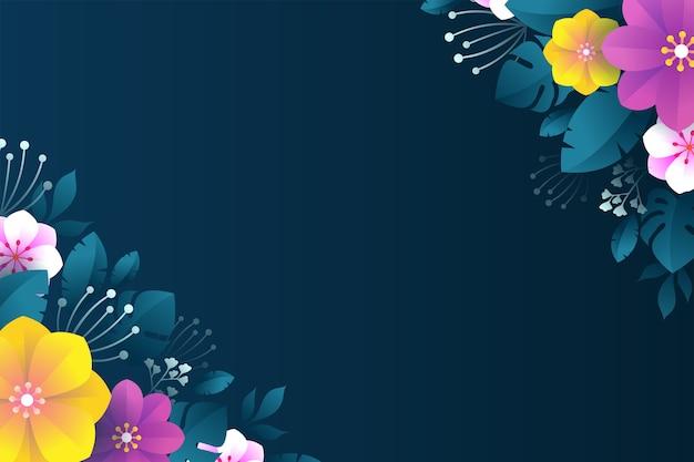 Fundo floral colorido com design plano